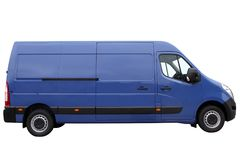 Moderne blauwe bestelwagen stock foto's