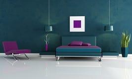 Moderne blauwe en purpere slaapkamer Stock Foto's