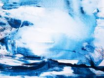 Moderne Blauwe en Witte Kleur Abstract Art Painting stock foto
