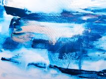 Moderne Blauwe en Witte Kleur Abstract Art Painting stock foto's