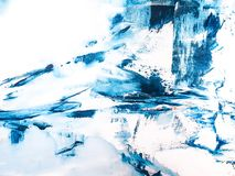 Moderne Blauwe en Witte Kleur Abstract Art Painting stock fotografie