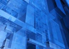 Moderne blauwe glasmuur van de bureaubouw Stock Afbeelding