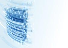 Moderne blauwe glasmuur van de bureaubouw Stock Fotografie