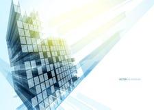 Moderne blauwe glasmuur van de bureaubouw Royalty-vrije Stock Foto's