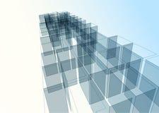 Moderne blauwe glasmuur van de bureaubouw Stock Foto's