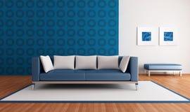 Moderne blauwe zitkamer stock illustratie