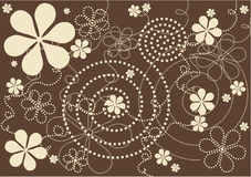Moderne bloemen - bruine achtergrond Royalty-vrije Stock Fotografie