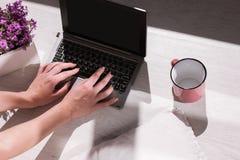 Moderne bloggerwerkplaats Het vrouwelijke typen op laptop stock foto's