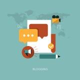 Moderne blogging Konzeptillustration des Vektors Stockfotografie