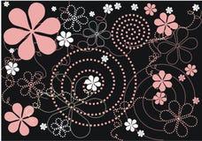Moderne Blumen - schwarzer Hintergrund lizenzfreie abbildung