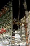 Moderne bouwconstructie bij nacht Royalty-vrije Stock Afbeelding