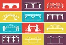 Moderne Brücken-Ikonen auf bunten Hintergrund-Designen Stockfoto