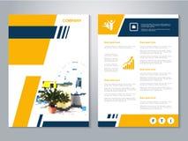 Moderne brochure, abstracte vlieger met meer interier achtergrond van huis Lay-outmalplaatje Affiche van geel, donkerblauw, zwart Royalty-vrije Stock Afbeelding