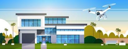 Moderne Brummen-Fliege über Wohnungsbau mit Kasten, Luft-Transport und Lieferverfahren-Konzept lizenzfreie abbildung
