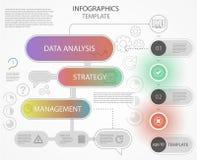 Moderne bunte Infographics-/arbeitsfluss-Designschablone mit Linie Ikonen lizenzfreie abbildung