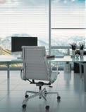 Moderne bureau en leunstoel tegen reusachtig venster stock illustratie