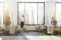 Moderne bureauhoek, gestemde kunstinstallatie Stock Foto