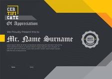 Moderne Certificaat Zwarte Illustrator 10 Elegant Certificaat van Appreciatiemalplaatje In Geometrisch Ontwerp Gelaagde eps10 vec royalty-vrije illustratie