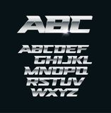 Moderne chroom vectordoopvont Metaalbrieven, de opgepoetste symbolen van de staalstijl Aluminium gewaagd geometrisch alfabet vector illustratie