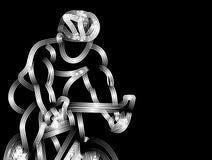 Moderne Cirkelende Atleet In Action Line Art Drawing royalty-vrije stock fotografie