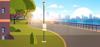 Moderne cityscape van de stads lege kade stedelijke wolkenkrabbersmening als achtergrond van wegrivier en de vroege ochtendzonsop stock illustratie