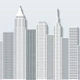 Moderne cityscape vectorillustratie met bureaugebouwen en wolkenkrabbers Deel A Stock Foto