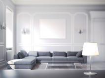 Moderne comfortabele ruimte met lijst en lamp op foregound en op nadruk, het 3d teruggeven Royalty-vrije Illustratie