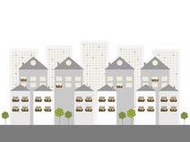 Moderne Commerciële Stad, Real Estate-Concept royalty-vrije illustratie