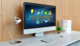 Moderne computer met e-lerende presentatie het 3D teruggeven Stock Afbeeldingen