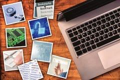 Moderne computerinformatietechnologie fotocollage Stock Afbeelding