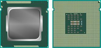 Moderne Computerkern-Verarbeitungseinheit CPU, Front und hinteres Gesicht, lokalisiert auf weißem Hintergrund Lizenzfreie Stockfotografie