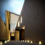Moderne concrete minimalistische villa bij schemer Stock Afbeeldingen