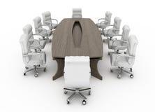 Moderne conferentielijst met geïsoleerde stoelen royalty-vrije illustratie