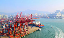 Moderne containerterminals, Hongkong Stock Foto