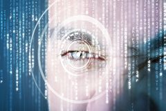 Moderne cybermilitair met het oog van de doelmatrijs royalty-vrije stock afbeelding