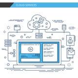 Moderne dünne Linie Designwolkendienstleistungen Erstklassiger Qualitätsvektor Lizenzfreie Stockfotografie