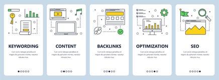Moderne dünne Linie keywording Konzeptnetz-Fahnensatz des Vektors Lizenzfreie Stockbilder