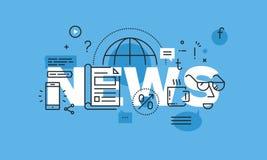 Moderne dünne Linie Konzept des Entwurfes für Nachrichtenwebsitefahne Lizenzfreies Stockbild
