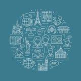 Moderne dünne Linie Konzepte des Lernens von Fremdsprachen, Sprachausbildungsstätte vektor abbildung