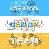 Moderne dünne Tiefenlinie-Konzept- des Entwurfesfahne von den Wörtern kreativ lizenzfreie abbildung