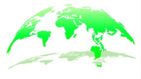 Moderne 3D Kaart van de Wereld in Emerald Color met Schaduw royalty-vrije illustratie