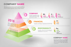 Moderne 3d piramidegrafiek infographic in vectoreps10 Royalty-vrije Stock Foto's