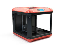 Moderne 3d printer op witte achtergrond - 3d concept van druktechnologieën Stock Afbeelding