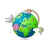 Moderne 3d wereldkaart Creatief reisconcept Stock Foto's