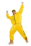 Moderne danser in gele kleding Royalty-vrije Stock Foto's
