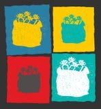 Moderne de groetkaart van het Kerstmismalplaatje De rode zak van Santa Claus binnen Royalty-vrije Stock Afbeelding