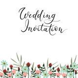 Moderne de kalligrafiekaart van de huwelijksuitnodiging Vectorhand van letters voorziende tekst Stock Foto's
