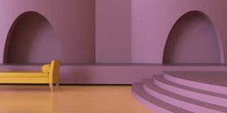 Moderne de luxe de vivre le secteur contemporain et le monochrome/affichage roses pourpres illustration stock
