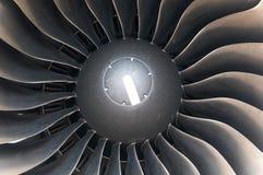 Moderne de turbinebladen van de vliegtuigmotor. Stock Fotografie