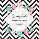 Moderne de verkoopbanner van de bevorderingslente met marmeren textuur en roze, groene bloemen op de zigzag witte en zwarte achte royalty-vrije illustratie